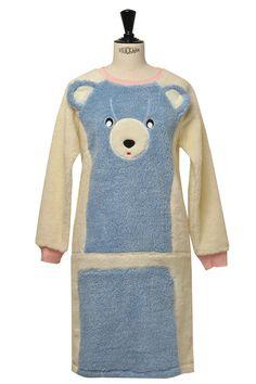 bear dress, blue/cream/pink*