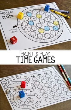Math games 262334747024803949 - Print and play partner games for telling time to the hour and half hour! These games are easy to play and help students practice their telling time skills on both analog and digital clocks! Maths Guidés, Math Classroom, Fun Math, Easy Math, Math Resources, Math Activities, Telling Time Games, Telling Time Activities, Telling The Time