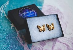 Wooden Butterfly Stud Earrings by Nightmagnets on Etsy