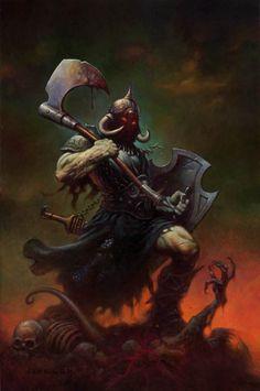 Art inspired by- Frank Frazetta (Death Dealer) Fantasy Anime, Dark Fantasy Art, Fantasy Artwork, Dark Art, Frank Frazetta, Arte Sci Fi, Sci Fi Art, Robert E Howard, Bd Art