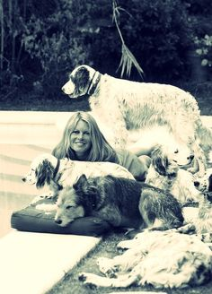 Brigitte Bardot and a ton of dogs.