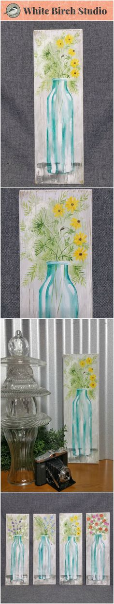 "Spring Flowers, wildflower painting, Farmhouse decor, Pallet wall art, White washed reclaimed wood, Hand painted flowers, blue glass vase, queen anns lace, black eyed susans  Original Acrylic painting on reclaimed white-washed board measuring 17"" wall by 5 1/2""  Are you ready for a TOUCH of Spring artwork for your home? These fun pieces can be added to any decor to give it a unique, shabby, farmhouse update. Each piece is hand painted for you and sanded for an aged appearance."