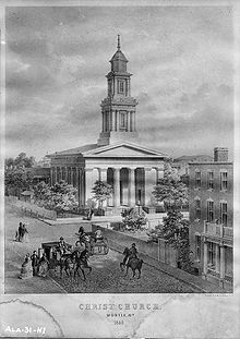 Construction was completed on Mobile's Christ Church Cathedral in 1840.  In 1906, a major hurricane destroyed the steeple as shown in this image.  The steeple has never been replaced.