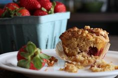 Strawberry Streusel Muffins (Grain-Free): 2 cups almond flour 1/2 cup coconut flour 6 eggs (preferably pasture-raised) 1/2 cup honey 1 teaspoon vanilla 1/2 teaspoon unrefined sea salt  1 cup strawberries, chopped (frozen or fresh) 1 tablespoon butter 1 teaspoon baking powder coconut oil or butter  - to grease muffin pan  For the streusel: 2 tablespoons coconut oil or butter, softened 1/4 cup almond flour 1/3 cup chopped nuts (I used walnuts) 2 tablespoons honey or maple syrup 1/4 tsp…