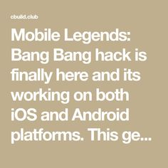 Mobile Legends: Bang Bang hack is finally here and its working on both iOS and Android platforms. This generator is free and its really easy to use! Disney Magic Kingdom, Android Hacks, Mobile Legends, Cheating, Platforms, Ios, Bang Bang, Free