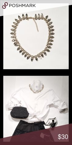 """J. Crew Rhinestone Necklace This little bauble is a great addition to your jewelry collection. I love sparkle all day and all night! This necklace is great with a t-shirt and jeans or for a night on the town! 18""""; comes with jewelry bag, worn once. J. Crew Jewelry Necklaces"""