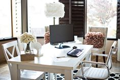 divine office workspace chic office decoration idea with white table and chairs and flower decorations comfortable office decorating ideas: chic office decor