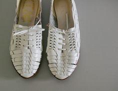 white woven shoes
