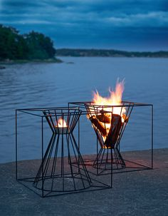Steel fire baskets BOO | Open outdoor fireplace Boo Collection by Skargaarden | design Martin Kallin