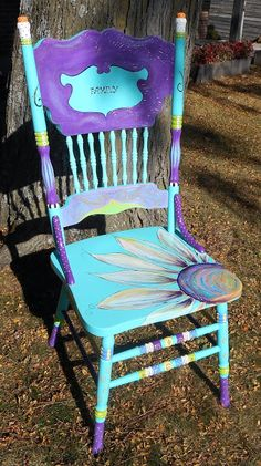 Turquoise hand painted chair by Carolyn's Funky Furniture