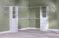 I think adding a few wood storage pieces would help update the wire in our master closet w/o having to re-do the whole thing!?