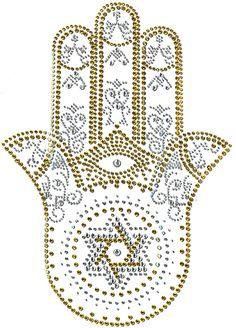 Hamsa Or Hamesh Hand Symbol Jewish Crafts, Jewish Art, Tattoo Main, Hamsa Tattoo Design, Hand Symbols, Dot Art Painting, Hand Of Fatima, Rhinestone Appliques, Star Of David