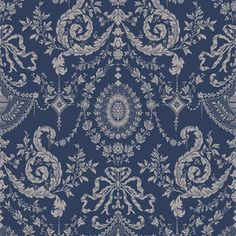Woolverston is a beautifully delicate small-scale damask taken from an century silk design and adapted for today's screen printing techniques. Warm silver on muted navy. Beige Wallpaper, Home Wallpaper, Pattern Wallpaper, Wallpaper Online, Brewster Wallpaper, Cole And Son Wallpaper, Wallpaper Samples, Wallpaper Ideas, Blue Wallpapers