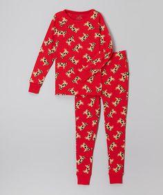 Look at this #zulilyfind! Red Cow Pajama Set - Kids #zulilyfinds