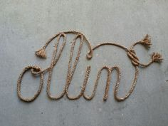 Custom western rope name art, perfect for any country, western, rustic, or nautical themed room. Please visit my etsy shop, Lasso Lettering, at https://www.etsy.com/shop/LassoLettering?ref=hdr_shop_menu