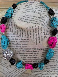 Turquoise Necklace Western Necklace Southwestern by CowtownChic Beads by @Giftsjoy.com.com #turquoise #westernnecklace #trendyjewelry