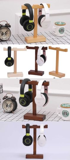 Wooden Headphone Headset Earphone Stand Holder Hanger Holder Cable Cord Organizer Wooden Headphone Stand Holder for Earphone Headset