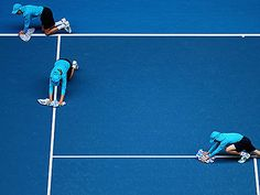 Mopping up at #ausopen #tennis #ballkids