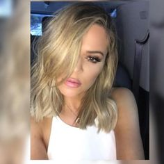 Khloé Kardashian debuts a new lob on Instagram.  HairstylistJen Atkin showed off the youngest Kardashian's new shoulder grazing 'do on Instagram over the weekend.  Older sister Kim most recently started sporting the style in February with a fresh cut from Gregory Russell, and just a week ago, little