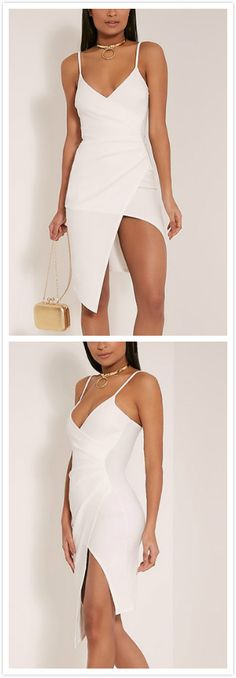 4f358e352a White Plunging Deep V Neck Sleeveless Splited Bodycon Dress - US 15.95 - YOINS