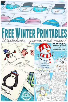 Learning Free Winter Printables via Itsy Bitsy Fun