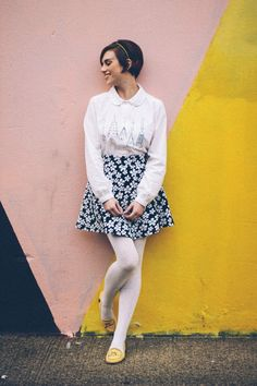 this look from the ModCloth Style Gallery! Cutest community ever. Tights Outfit Winter, Colored Tights Outfit, Coloured Tights, Blue And White Tights, Work Skirts, Mini Skirts, Spring Outfits, Winter Outfits, Wool Tights