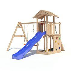 Superb FATMOOSE Kletterger st FruityForest Fun XXL Spielturm Kletterturm Beach House auf Ebenen schr gem Holzdach