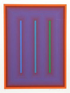 From Alpha 137 Gallery, Richard Anuszkiewicz, Sequential IX Silkscreen on Studio Bristol Paper. Artist Painting, Painting Prints, Art Prints, Acrylic Paintings, Opt Art, Photo Sculpture, Art Optical, Kinetic Art, Art Abstrait