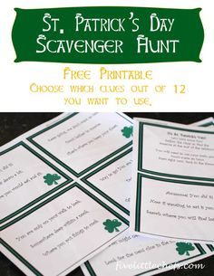 A printable St Patrick Day Scavenger Hunt just for you! The hard part is done! Print, cut then hide the clues and the treasure at the end of the rainbow!