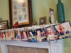 A year of pictures (one per month) for party decor - great for babies