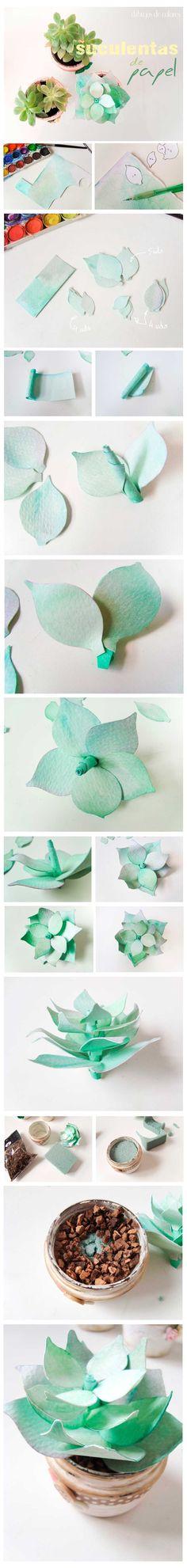 Preciosas suculentas de papel