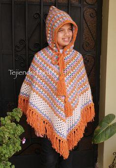 Paso a paso para tejer un poncho granny stripes con capucha a crochet. English subtitles, step by step: granny stripes hooded poncho!