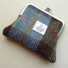 Harris Tweed Coin Purse in  Hunting MacLeod Tartan, Metal Kiss Lock Frame.  Handmade in Scotland.
