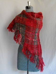 Gray to Pink to Red  Hand Woven Wool Shawl by SimplyNaturalDesigns