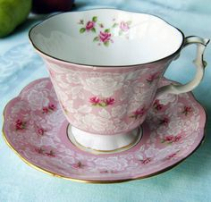 Royal Albert tea cup. white lace, cherry roses on pink