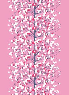 Marimekko Lumimarja Taupe/Blush Sateen Fabric Erja Hirvi originally created the Lumimarja (Snowberry) design by scanning the bush's actual branches, a meticulous method that shows in the truthful form of every single twig. Textile Patterns, Textile Design, Fabric Design, Pattern Design, Textiles, Art Mural Tissu, Illustrations, Illustration Art, Christmas Illustration