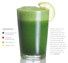 Groene Cappuccino - RawFood.nl Smoothies, Hulk, How To Stay Healthy, Glass Of Milk, Juice, Beverages, Health Fitness, Tableware, Cappuccino