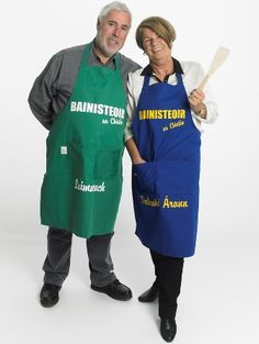 Available to purchase from www.gagababy.ie   - His & Hers Irish County Aprons - Can be customized for your loved one. The irish Term 'Bainisteoir' means The Boss/Manager . You will see this word on the back of every Team Manager in Ireland on the TV especially during The All Ireland Championships May - Sept each year. So The words Bainisteoir sa Chistin means THE BOSS IN THE KITCHEN! - 100% Irish made Aprons for the Irish Sporting fans around the world. Aprons, My Design, Irish, Ireland, Boss, Gift Ideas, Tv, Kitchen, Fashion