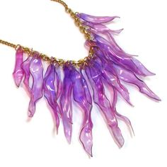 Ecochic Radiant Orchid Statement Necklace Upcycled by BluKatDesign