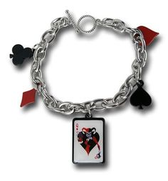 Harley may be a villain, but she's definitely good at her job. We're sure Joker would agree. Being a favorite, we couldn't pass up this Harley Quinn Charm Bracelet. This charm bracelet is adorned with card symbols, like the red diamond and the black spades. At the center of it all is a red queen …