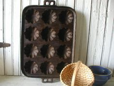 Vintage Cast  Iron Baking Pan Corn Muffin by SweetPeaVintageArt, $25.00