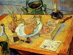Vincent van Gogh (Dutch, Post-Impressionism, 1853-1890): Still life with a Plate of Onions (also known as, Still Life with Drawing Board, Pipe, Onions, and Sealing Wax), January 1889. Oil on canvas, 50 x 64 cm. Kröller-Müller Museum, Otterlo, Netherlands.