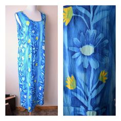 JAMS WORLD Blue Trellis Floral Print Long Maxi Dress by RetroOnTheRocks #blue #yellow #azure #tropical #hawaiian #beachwear #cruisewear #sundress #bright #cheerful