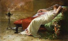 Giovanni Muzzioli (1854-1894) - Vestale sdraiata su dormeuse con braciere in interno pompeiano