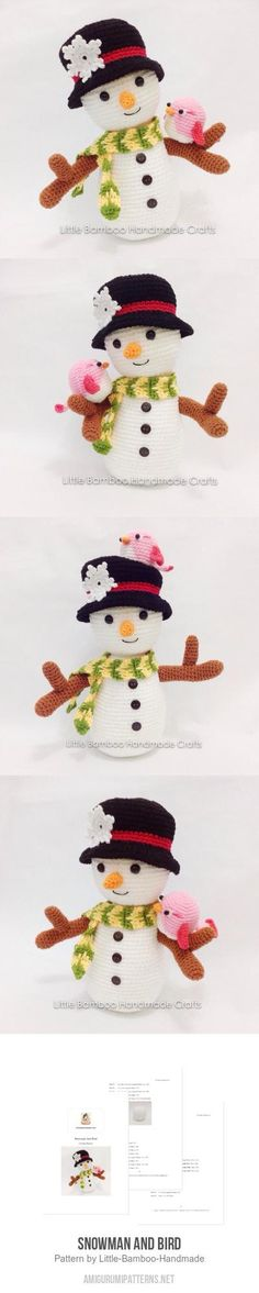 Snowman And Bird Amigurumi Pattern