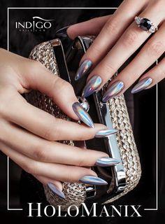 HoloManix by Katarzyna Wojtczak, Indigo Team Łódź #nails #nail #holomanix #chrome #silver #metalmanix #indigo #autumn #hot