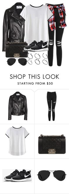 """Style #11305"" by vany-alvarado ❤ liked on Polyvore featuring Acne Studios, Topshop, Chanel, NIKE, Ray-Ban and ASOS"