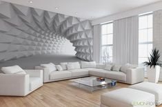 Effektvolle Wand- und Raumgestaltung mit Fototapete small-living room-modern-design-with-perspective photo wallpaper-in-white arkitektur