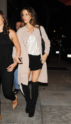 Sassy style: Kate Beckinsale rocked a causal yet chic look, as she stepped out for a dinner with friends in Los Angeles, on Tuesday evening