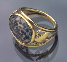 This is not contemporary - image from a gallery of vintage and/or antique objects. JUGENDSTIL Ring Gold Granite